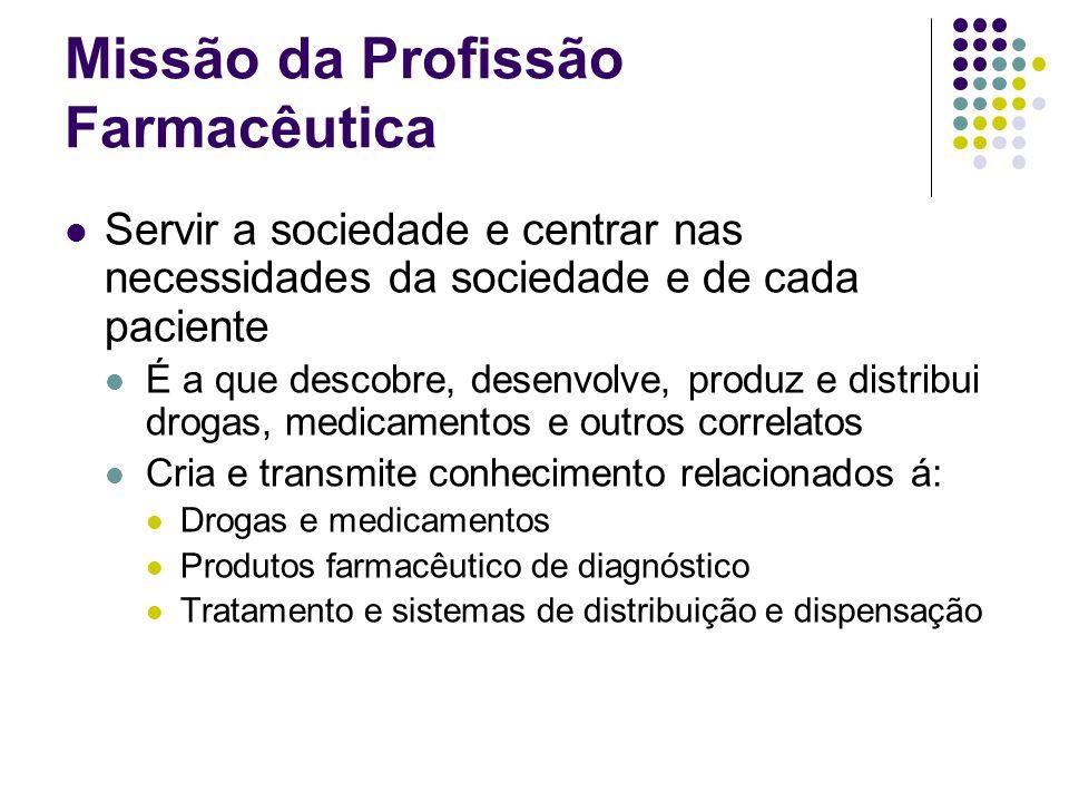 Missão da Profissão Farmacêutica Os principais objetivos da profissão farmacêutica são: Atenção Farmacêutica Farmacêutico em exercício Educadores Pesquisadores Envolvidos na fabricação e distribuidores