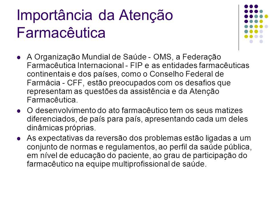 A Organização Mundial de Saúde - OMS, a Federação Farmacêutica Internacional - FIP e as entidades farmacêuticas continentais e dos países, como o Cons