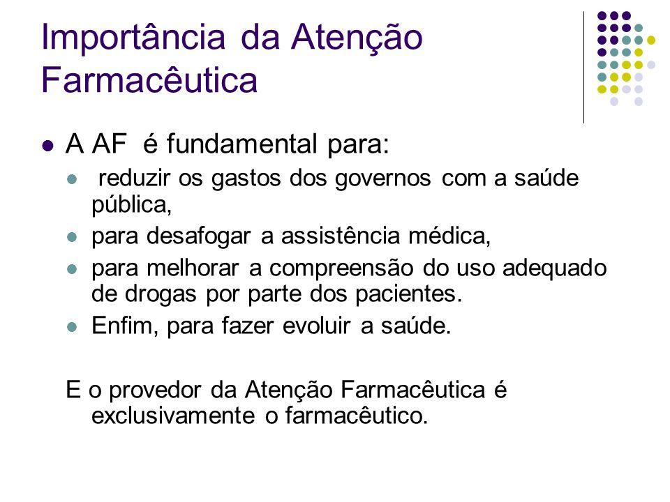 A AF é fundamental para: reduzir os gastos dos governos com a saúde pública, para desafogar a assistência médica, para melhorar a compreensão do uso a