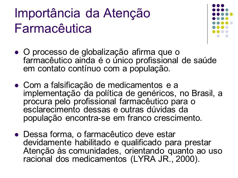 O processo de globalização afirma que o farmacêutico ainda é o único profissional de saúde em contato contínuo com a população. Com a falsificação de