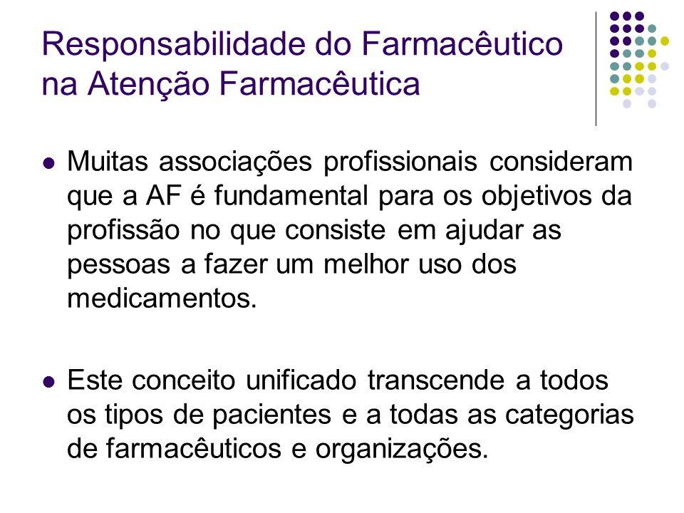 Responsabilidade do Farmacêutico na Atenção Farmacêutica Muitas associações profissionais consideram que a AF é fundamental para os objetivos da profi