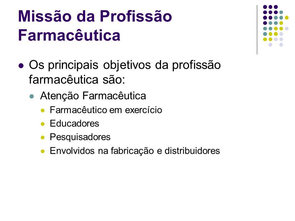 Missão da Profissão Farmacêutica Os principais objetivos da profissão farmacêutica são: Atenção Farmacêutica Farmacêutico em exercício Educadores Pesq