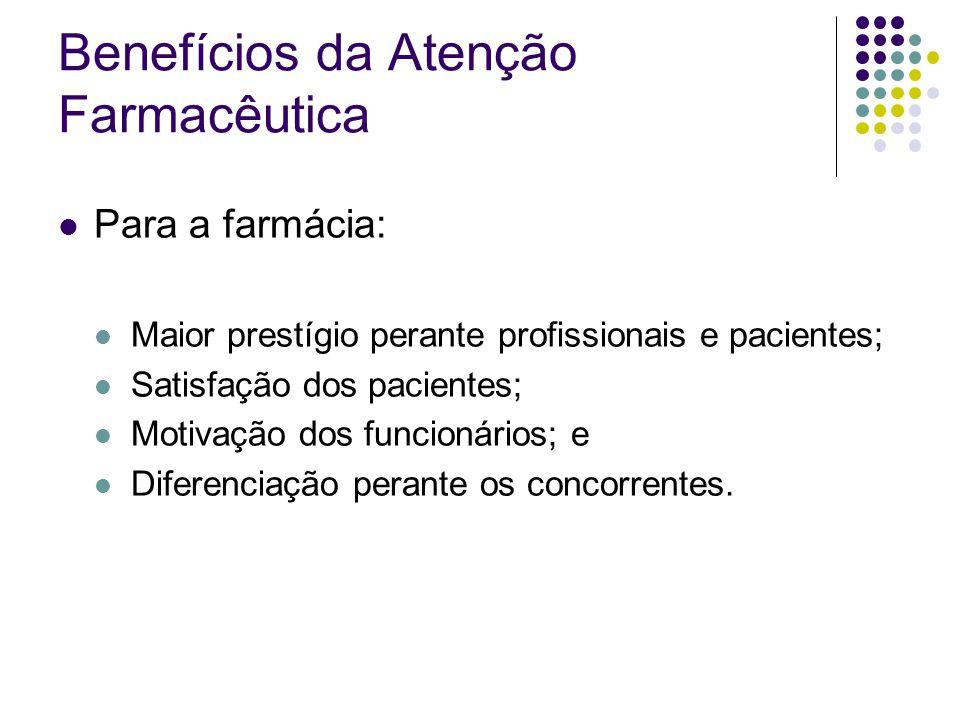 Benefícios da Atenção Farmacêutica Para a farmácia: Maior prestígio perante profissionais e pacientes; Satisfação dos pacientes; Motivação dos funcion