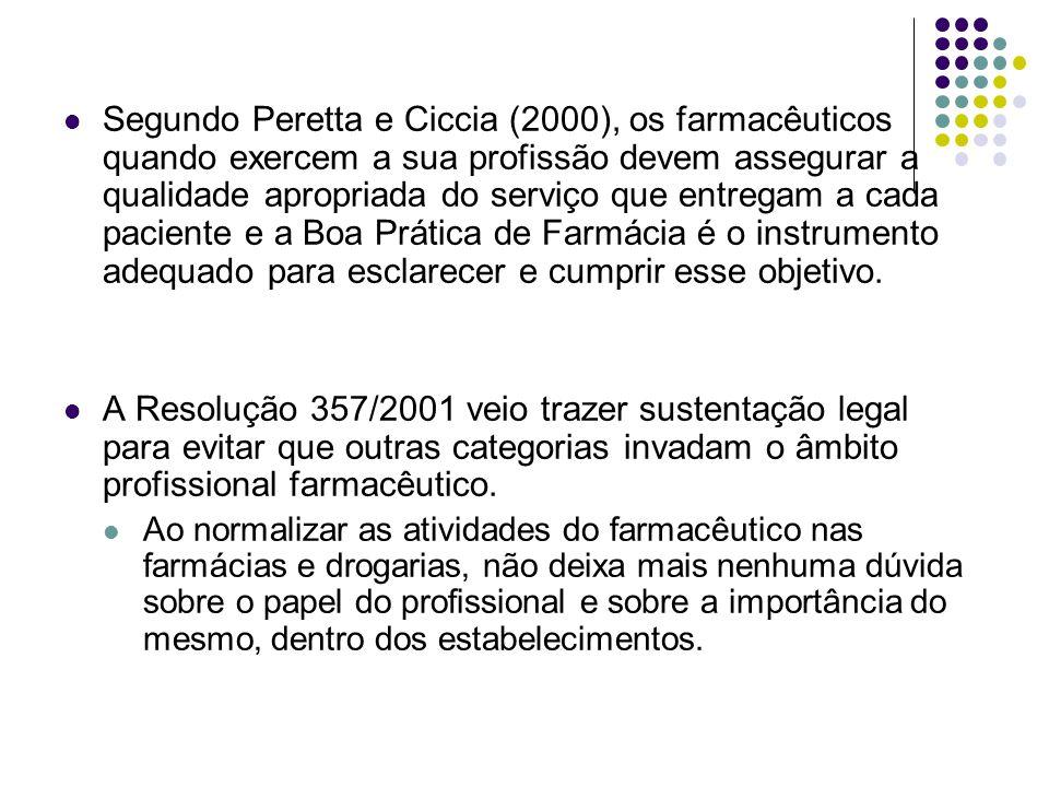 Segundo Peretta e Ciccia (2000), os farmacêuticos quando exercem a sua profissão devem assegurar a qualidade apropriada do serviço que entregam a cada