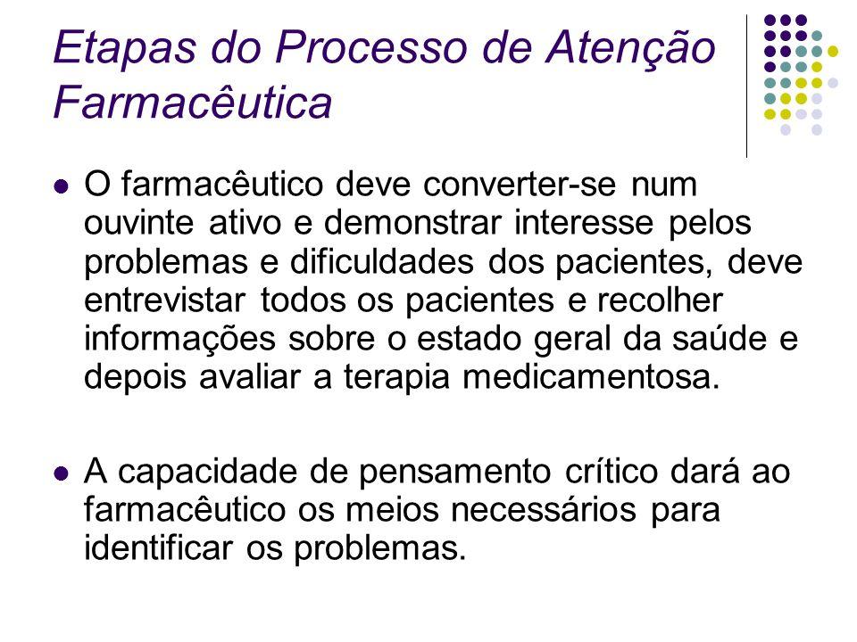 Etapas do Processo de Atenção Farmacêutica O farmacêutico deve converter-se num ouvinte ativo e demonstrar interesse pelos problemas e dificuldades do