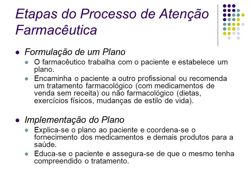 Etapas do Processo de Atenção Farmacêutica Formulação de um Plano O farmacêutico trabalha com o paciente e estabelece um plano. Encaminha o paciente a