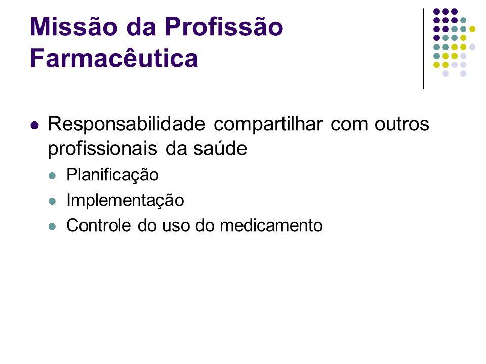 Responsabilidade compartilhar com outros profissionais da saúde Planificação Implementação Controle do uso do medicamento Missão da Profissão Farmacêu