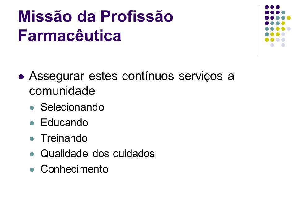 Assegurar estes contínuos serviços a comunidade Selecionando Educando Treinando Qualidade dos cuidados Conhecimento Missão da Profissão Farmacêutica
