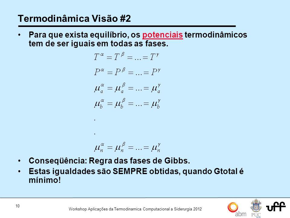 10 Workshop Aplicações da Termodinamica Computacional a Siderurgia 2012 Termodinâmica Visão #2 Para que exista equilíbrio, os potenciais termodinâmicos tem de ser iguais em todas as fases.potenciais Conseqüência: Regra das fases de Gibbs.