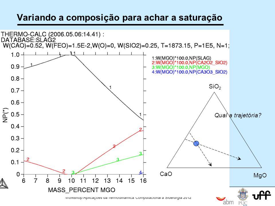 101 Workshop Aplicações da Termodinamica Computacional a Siderurgia 2012 Variando a composição para achar a saturação CaO MgO SiO 2 Qual a trajetória?