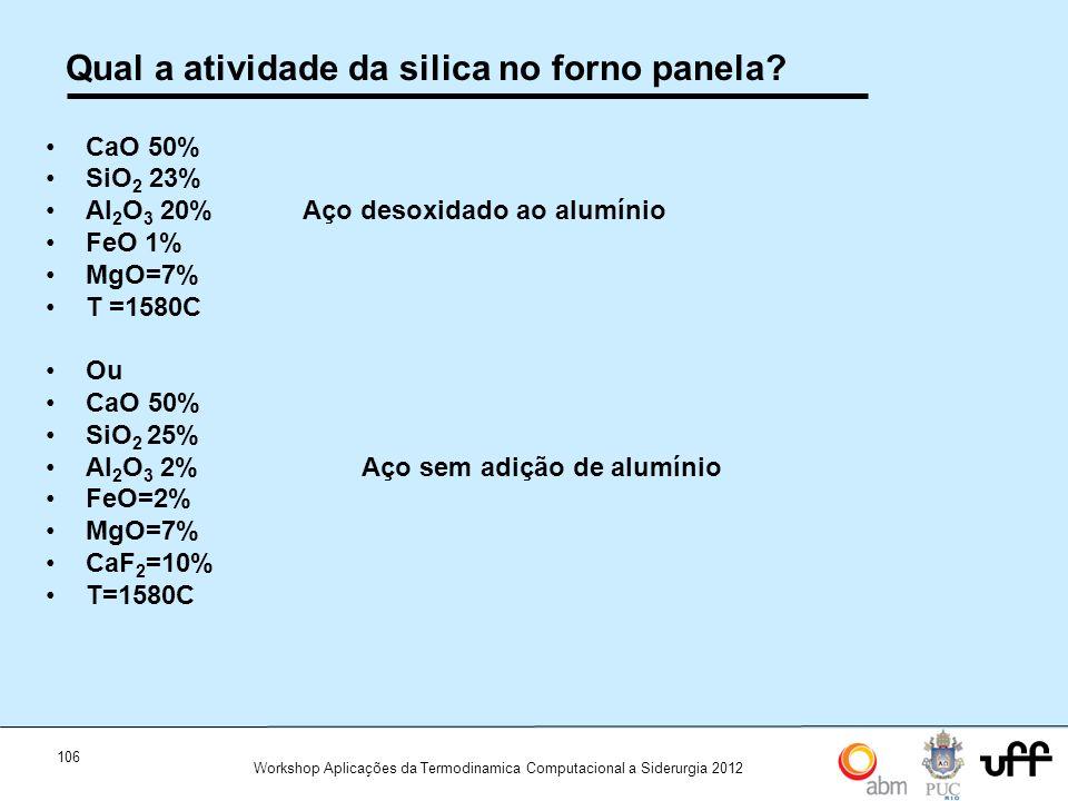 106 Workshop Aplicações da Termodinamica Computacional a Siderurgia 2012 Qual a atividade da silica no forno panela? CaO 50% SiO 2 23% Al 2 O 3 20% Aç