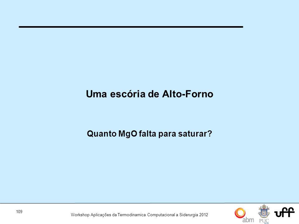 109 Workshop Aplicações da Termodinamica Computacional a Siderurgia 2012 Uma escória de Alto-Forno Quanto MgO falta para saturar?