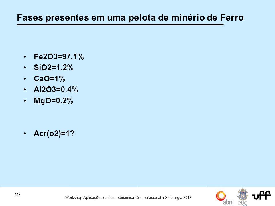 116 Workshop Aplicações da Termodinamica Computacional a Siderurgia 2012 Fases presentes em uma pelota de minério de Ferro Fe2O3=97.1% SiO2=1.2% CaO=1% Al2O3=0.4% MgO=0.2% Acr(o2)=1?