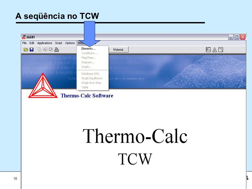 18 Workshop Aplicações da Termodinamica Computacional a Siderurgia 2012 A seqüência no TCW