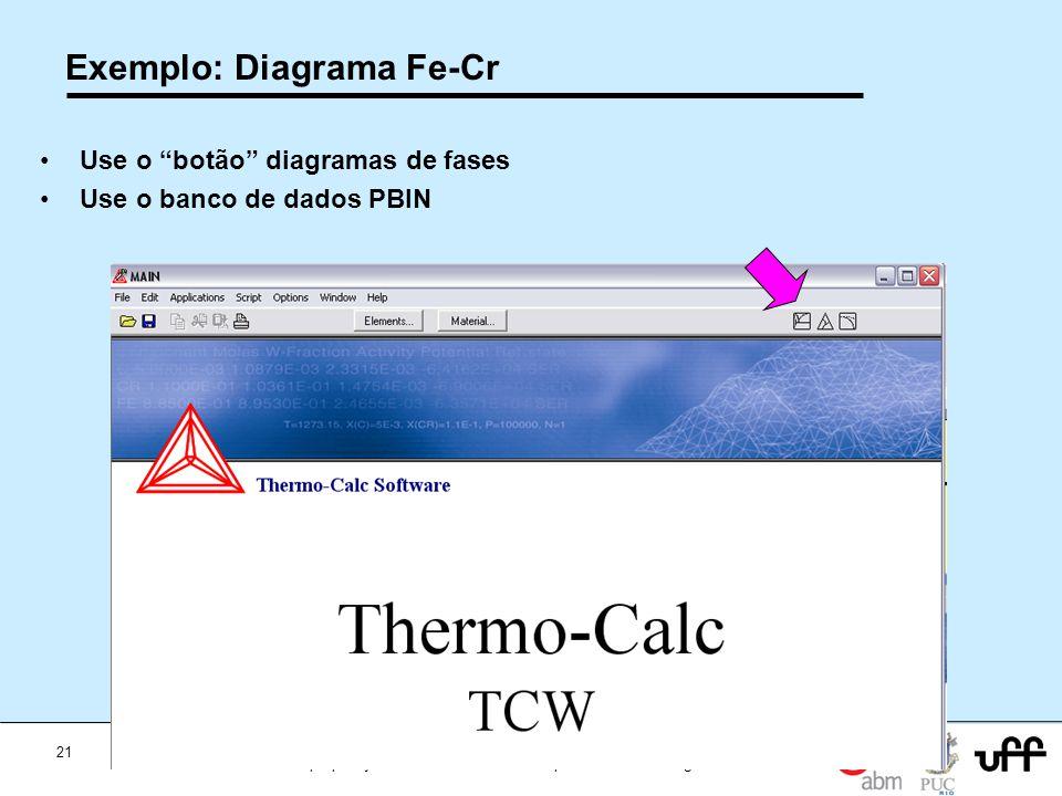 21 Workshop Aplicações da Termodinamica Computacional a Siderurgia 2012 Exemplo: Diagrama Fe-Cr Use o botão diagramas de fases Use o banco de dados PB