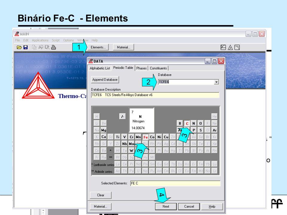 27 Workshop Aplicações da Termodinamica Computacional a Siderurgia 2012 Binário Fe-C - Elements 1 2 3 3 4