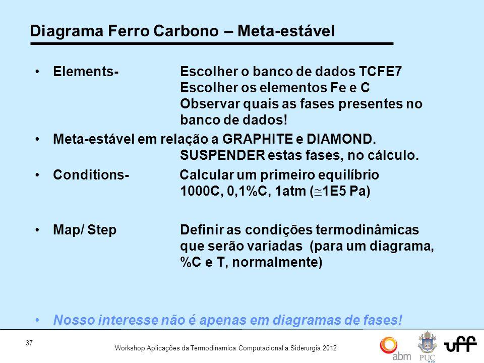 37 Workshop Aplicações da Termodinamica Computacional a Siderurgia 2012 Diagrama Ferro Carbono – Meta-estável Elements- Escolher o banco de dados TCFE7 Escolher os elementos Fe e C Observar quais as fases presentes no banco de dados.