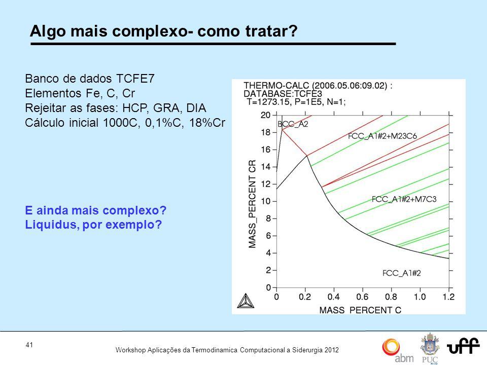 41 Workshop Aplicações da Termodinamica Computacional a Siderurgia 2012 Algo mais complexo- como tratar? Banco de dados TCFE7 Elementos Fe, C, Cr Reje