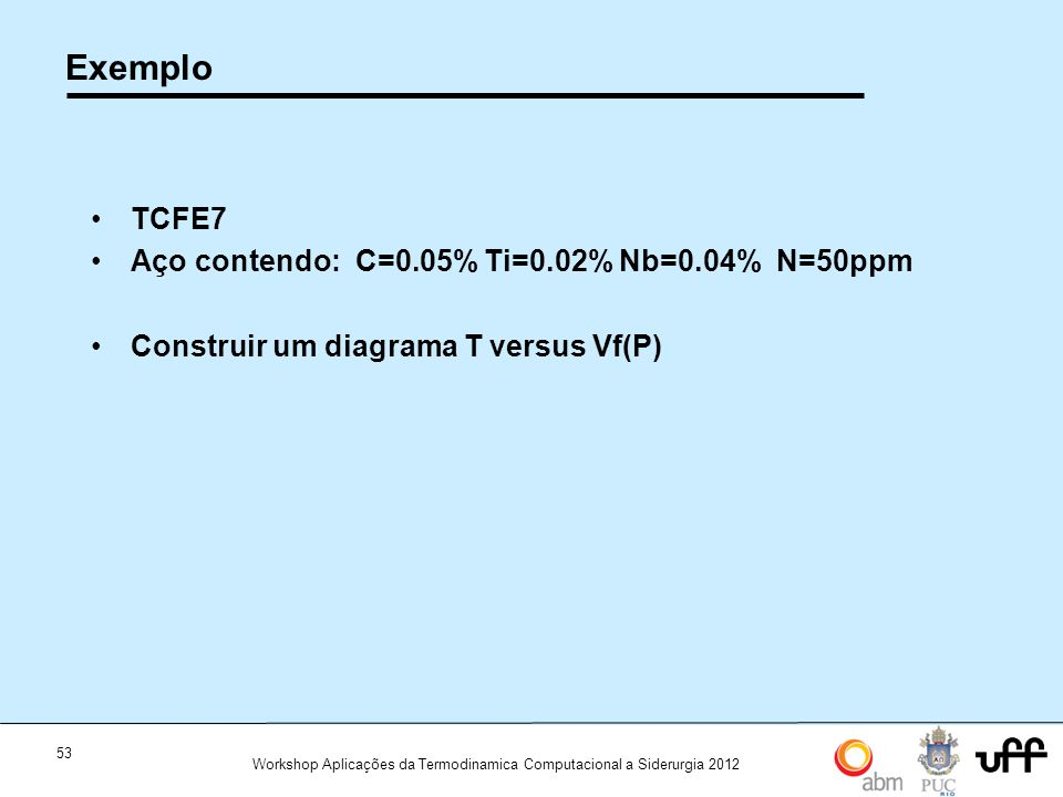53 Workshop Aplicações da Termodinamica Computacional a Siderurgia 2012 Exemplo TCFE7 Aço contendo: C=0.05% Ti=0.02% Nb=0.04% N=50ppm Construir um diagrama T versus Vf(P)
