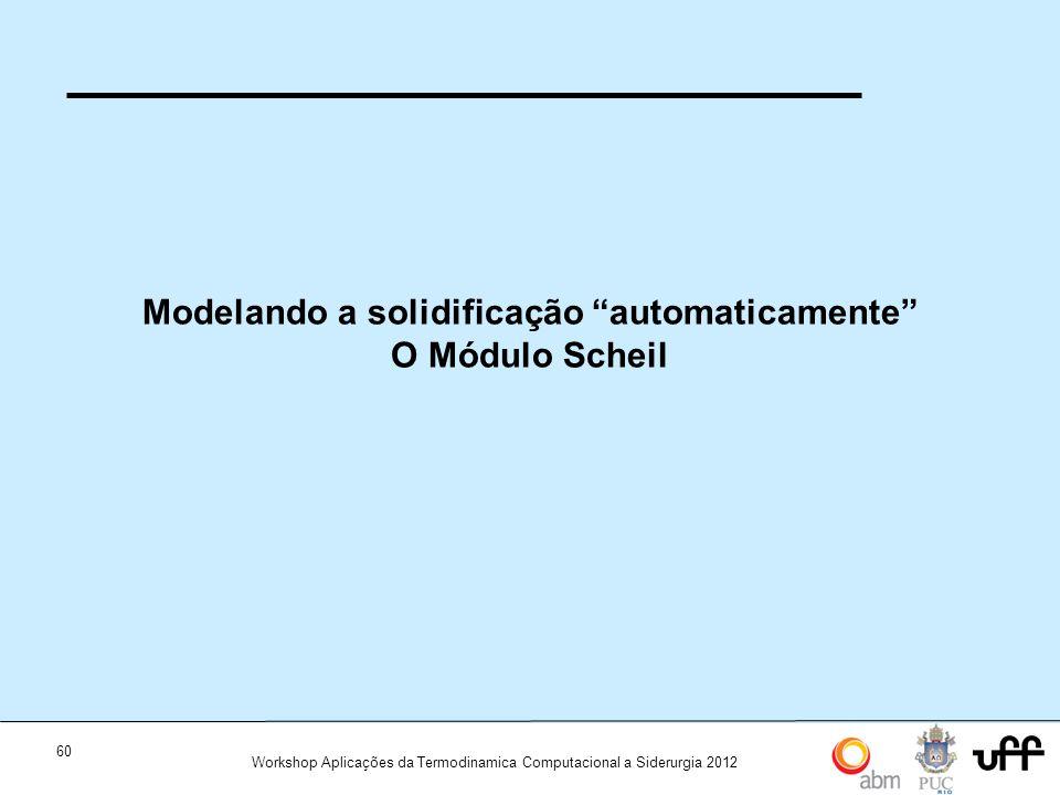 60 Workshop Aplicações da Termodinamica Computacional a Siderurgia 2012 Modelando a solidificação automaticamente O Módulo Scheil
