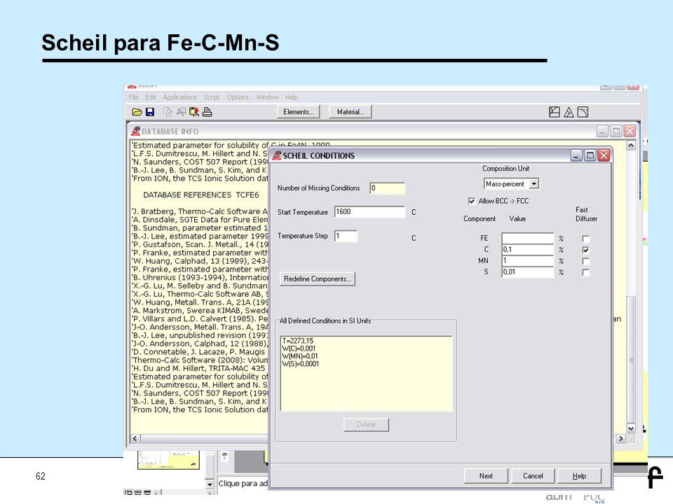 62 Workshop Aplicações da Termodinamica Computacional a Siderurgia 2012 Scheil para Fe-C-Mn-S