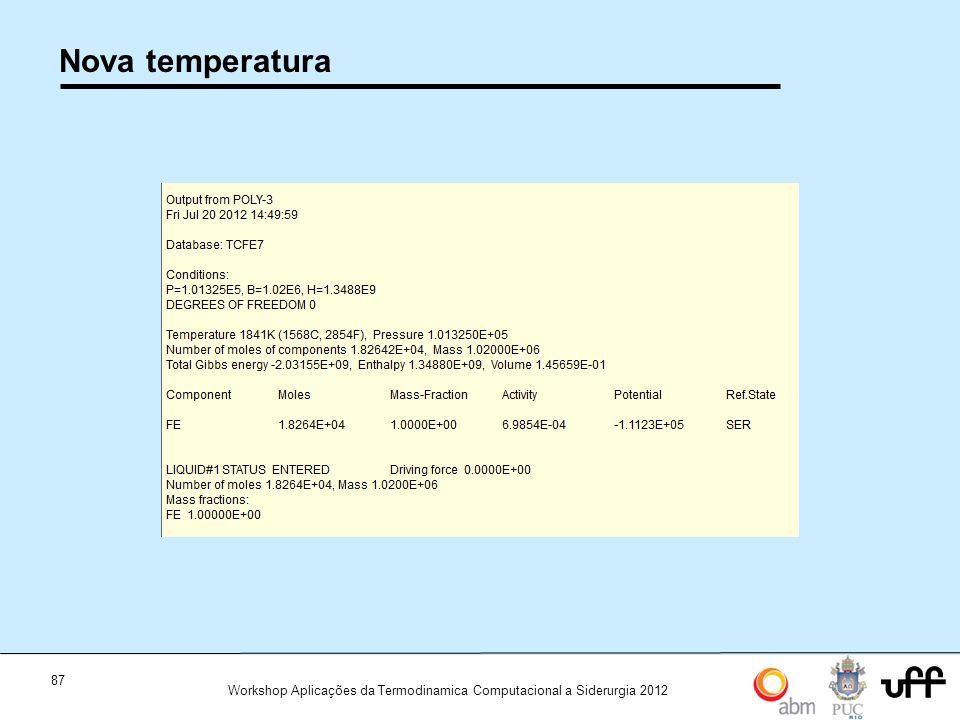 87 Workshop Aplicações da Termodinamica Computacional a Siderurgia 2012 Nova temperatura