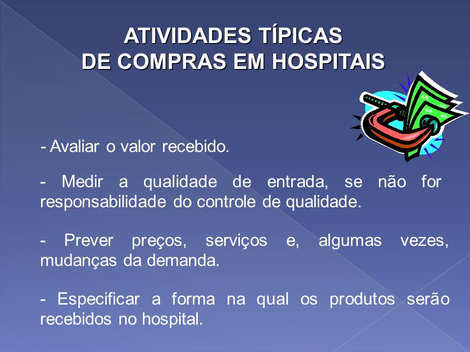 ATIVIDADES TÍPICAS DE COMPRAS EM HOSPITAIS - Selecionar e qualificar os fornecedores. - Classificar o desempenho do fornecedor. - Negociar contratos.