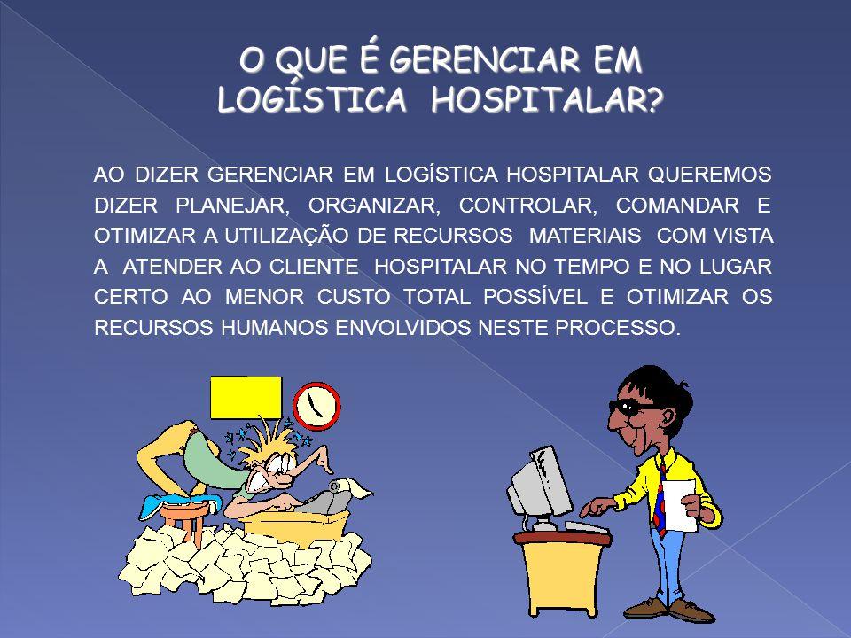 ASPECTOS A CONSIDERAR NA GESTÃO LOGÍSTICA NOS HOSPITAIS - Os hospitais lidam com a vida do ser humano. - Como empresas os hospitais possuem recursos m