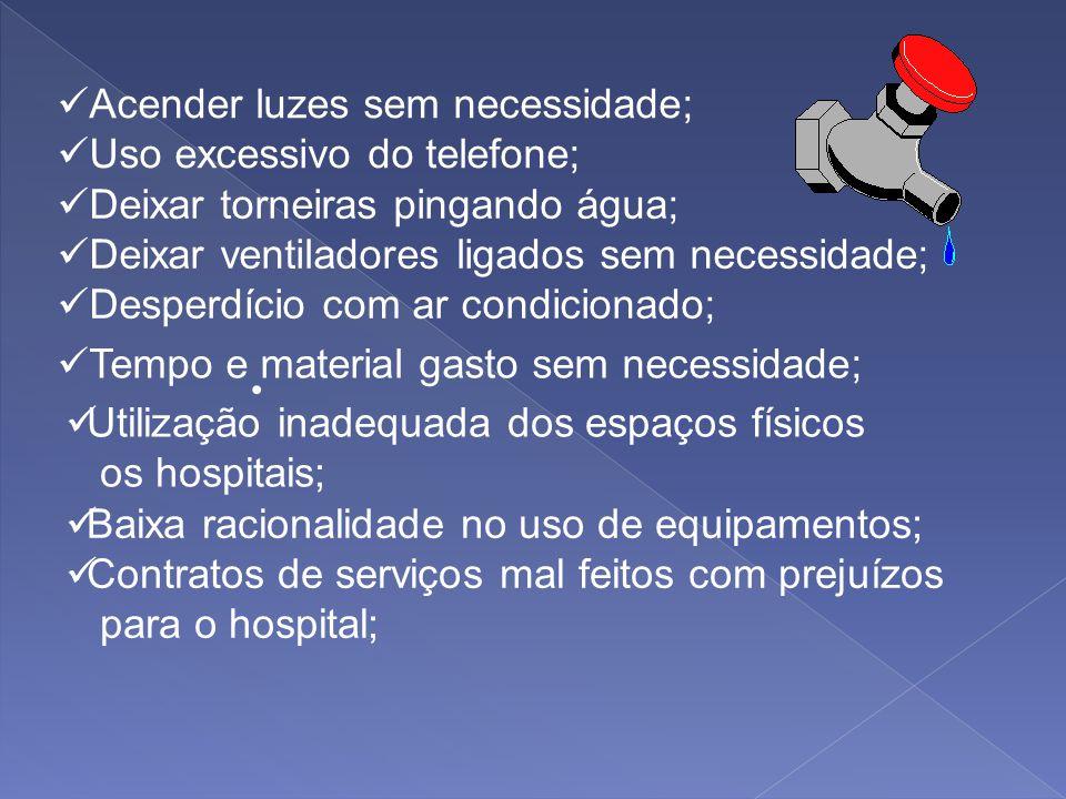 EXEMPLOS DE DESPERDÍCIOS NOS HOSPITAIS Ausência de padronização adequada de medicamentos e material médico hospitalar; Guarda desnecessária de materia