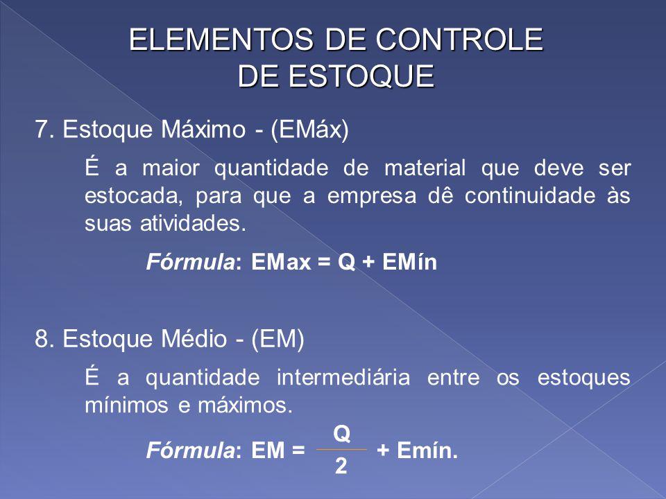 ELEMENTOS DE CONTROLE DE ESTOQUE É o período compreendido entre duas aquisições. 5. Intervalo de Ressuprimento - (I) Fórmula: Q = CMM X I É o correspo