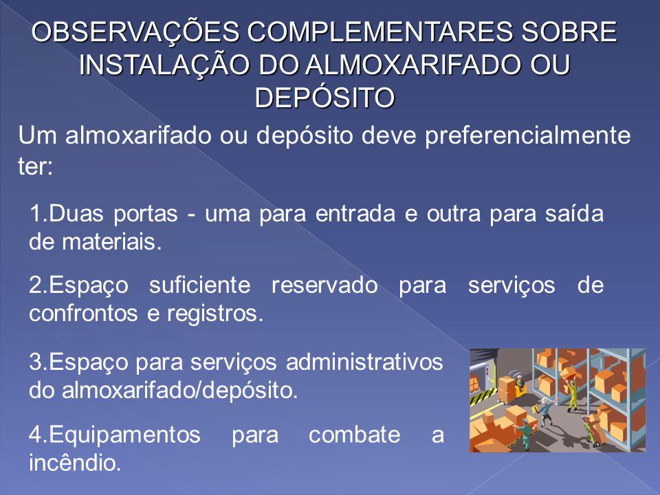 CONSIDERAÇÕES SOBRE ARMAZENAGEM DE MATERIAIS O local destinado a embarque de mercadorias do almoxarifado/depósito deve ter normalmente um metro e vint