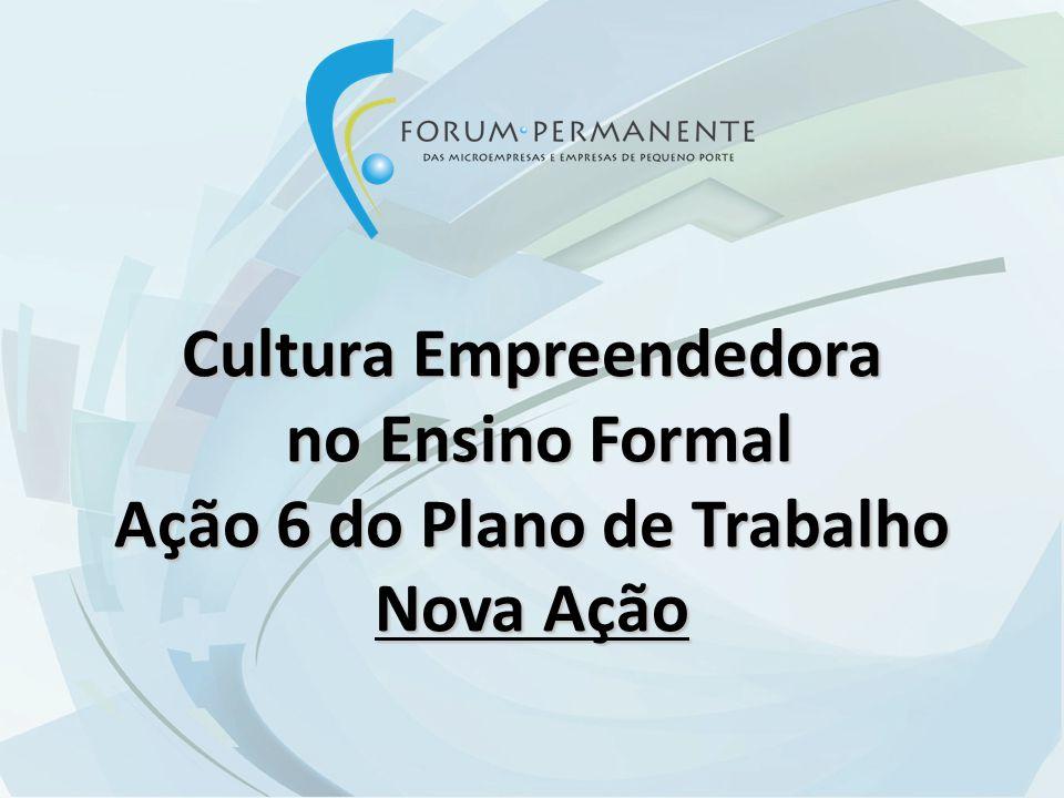 Cultura Empreendedora no Ensino Formal no Ensino Formal Ação 6 do Plano de Trabalho Nova Ação