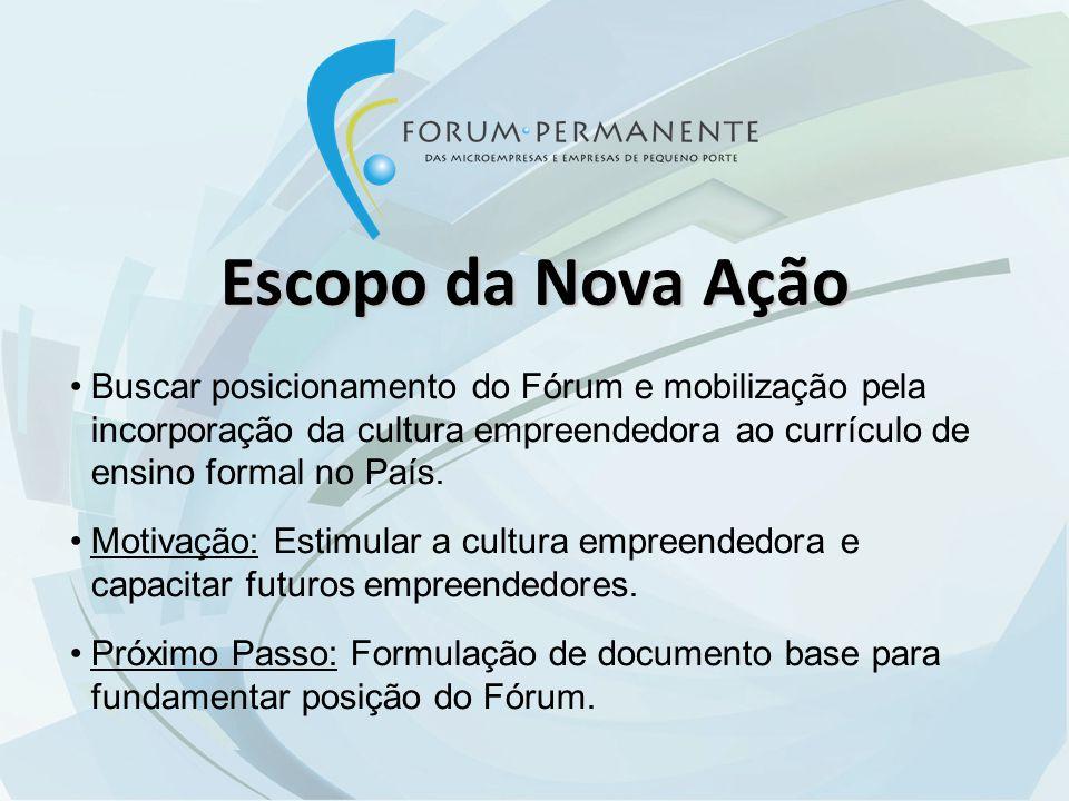 Escopo da Nova Ação Buscar posicionamento do Fórum e mobilização pela incorporação da cultura empreendedora ao currículo de ensino formal no País.