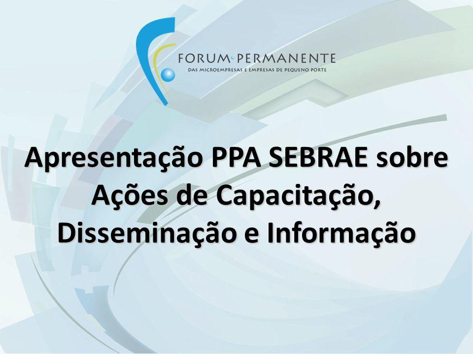 Apresentação PPA SEBRAE sobre Ações de Capacitação, Disseminação e Informação