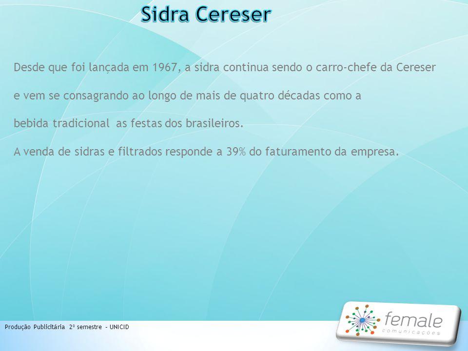 Produção Publicitária 2º semestre – UNICID Desde que foi lançada em 1967, a sidra continua sendo o carro-chefe da Cereser e vem se consagrando ao long