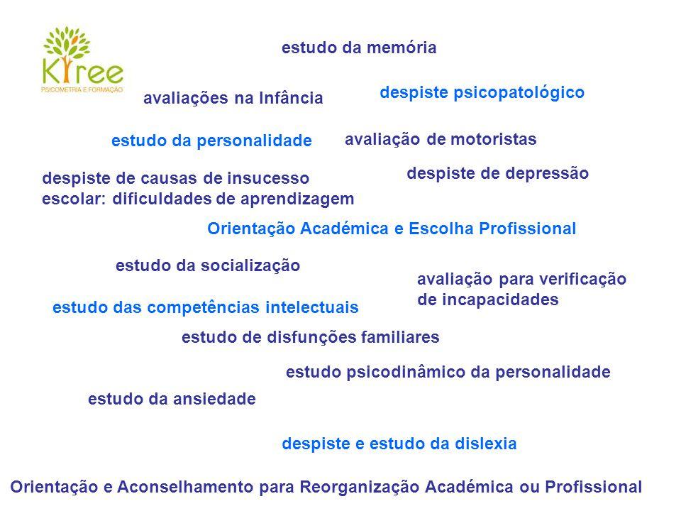 avaliações na Infância despiste psicopatológico Orientação e Aconselhamento para Reorganização Académica ou Profissional estudo psicodinâmico da perso