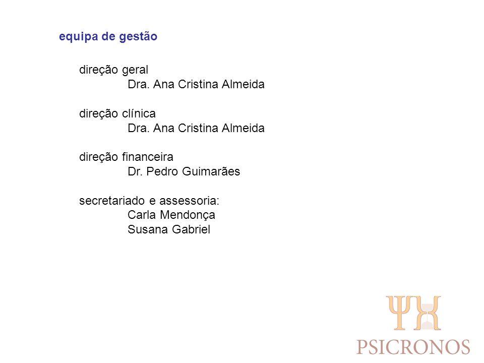 equipa de gestão direção geral Dra. Ana Cristina Almeida direção clínica Dra. Ana Cristina Almeida direção financeira Dr. Pedro Guimarães secretariado