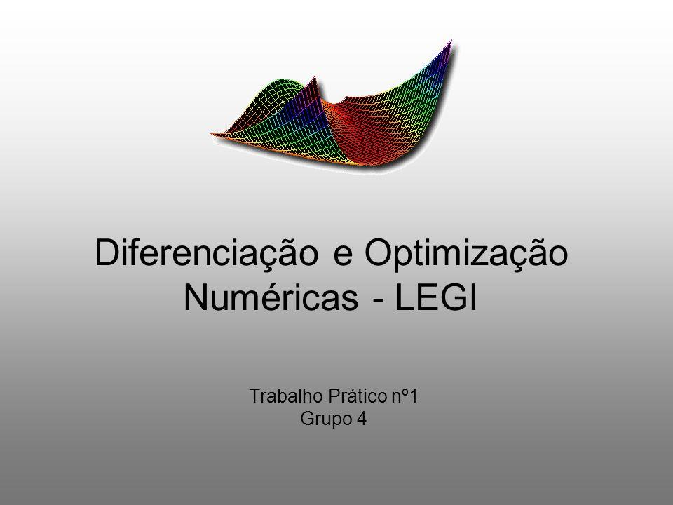Diferenciação e Optimização Numéricas - LEGI Trabalho Prático nº1 Grupo 4