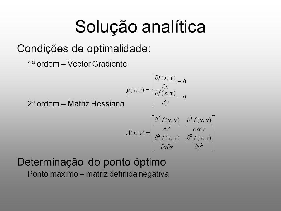 Solução numérica (Resumo dos resultados obtidos no CONUM) Valor inicial (x 0, y 0 ) (1900,1900) T (2000,2000) T (2100,2100) T Tipo de método Valor da função f(x,y) Vector Solução (x,y) Número de Iterações Valor da função f(x,y) Vector Solução (x,y) Número de Iterações Valor da função f(x,y) Vector Solução (x,y) Núme ro de Iteraç ões Método das Direcções de Descida Máxima Não Convergiu (erro matemático) - 100000000 (2000,2000) T 1Não Convergiu (erro matemático) Método dos Gradientes Conjugados Não Convergiu (erro matemático) - 100000000 (2000,2000) T 1Não Convergiu (erro matemático) Método de Newton - 1000000 00 (2000,2000) T 2 - 100000000 (2000,2000) T 1 - 1000000 00 (2000,2000) T 2 Métodos do Tipo Quasi- Newton - 9999999 9.999995 (1999.999547, 1999.999547) T 56 - 100000000 (2000,2000) T 1 - 9999999 9.99999 5 (2000.000453, 2000.000453) T 56 Método de Rosenbrock - 1000000 00.00000 0 (2000.000065, 1999.999961) T Não Convergiu - 100000000 (2000,2000) T Não Convergiu - 1000000 00.0000 00 (2000.000008, 1999.999957) T Não Convergiu Em todos os métodos da tabela, utilizaram-se 3 valores iniciais ( x0,y0 ) = (1900,1900) T, ( x0,y0 ) = (2000,2000) T, ( x0,y0 ) = (2100,2100) T, a mesma tolerância do critério de paragem (ε=1.0x10 -06 ) e o mesmo número máximo de iterações ( nmax=200).