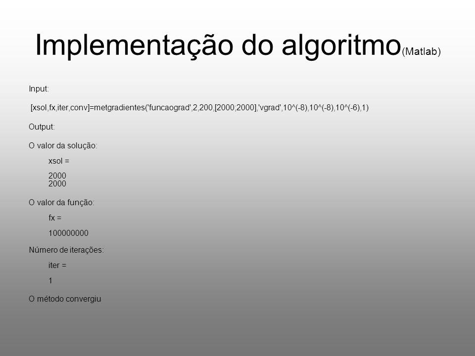 Implementação do algoritmo (Matlab) Input: [xsol,fx,iter,conv]=metgradientes( funcaograd ,2,200,[2000;2000], vgrad ,10^(-8),10^(-8),10^(-6),1) Output: O valor da solução: xsol = 2000 2000 O valor da função: fx = 100000000 Número de iterações: iter = 1 O método convergiu