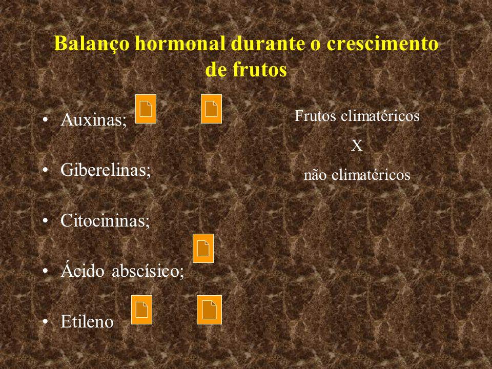 Balanço hormonal durante o crescimento de frutos Auxinas; Giberelinas; Citocininas; Ácido abscísico; Etileno Frutos climatéricos X não climatéricos