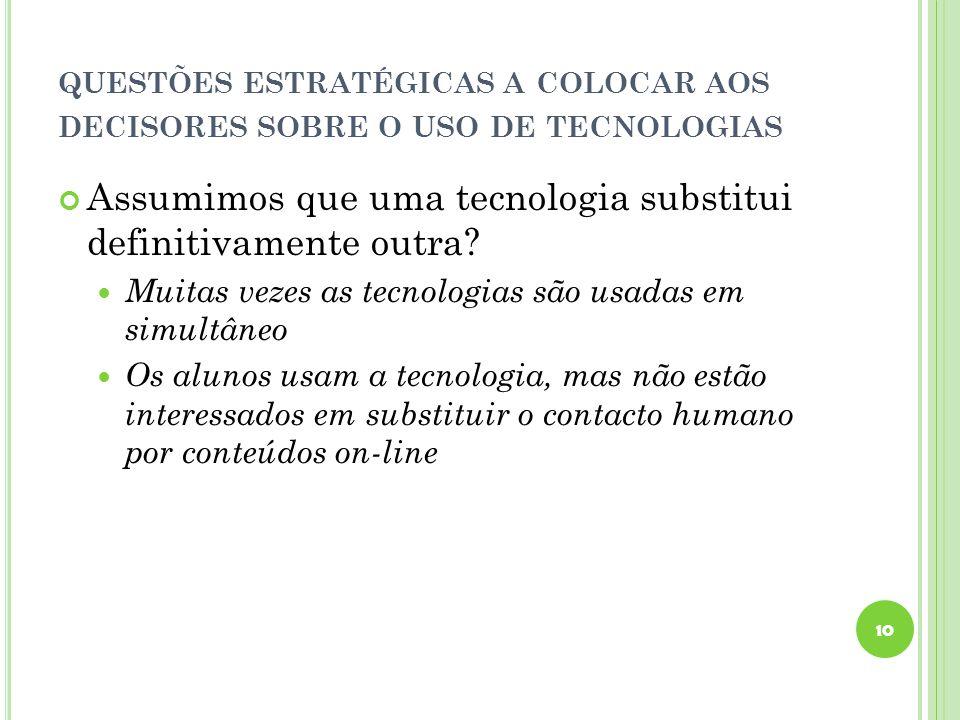QUESTÕES ESTRATÉGICAS A COLOCAR AOS DECISORES SOBRE O USO DE TECNOLOGIAS Assumimos que uma tecnologia substitui definitivamente outra.