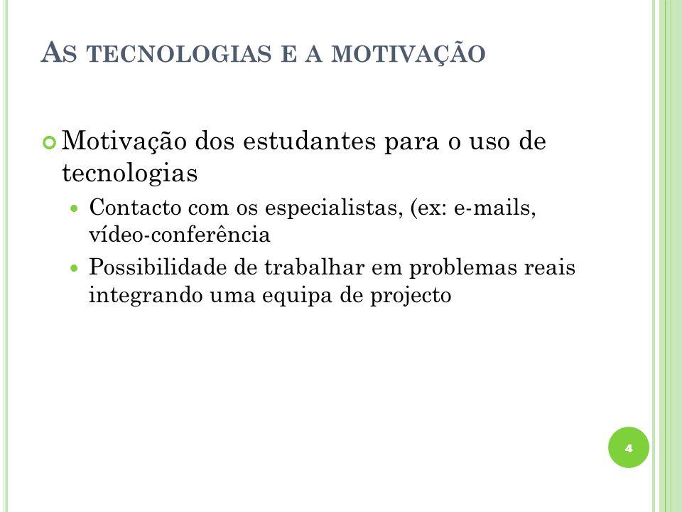 A S TECNOLOGIAS E A MOTIVAÇÃO Motivação dos estudantes para o uso de tecnologias Contacto com os especialistas, (ex: e-mails, vídeo-conferência Possib