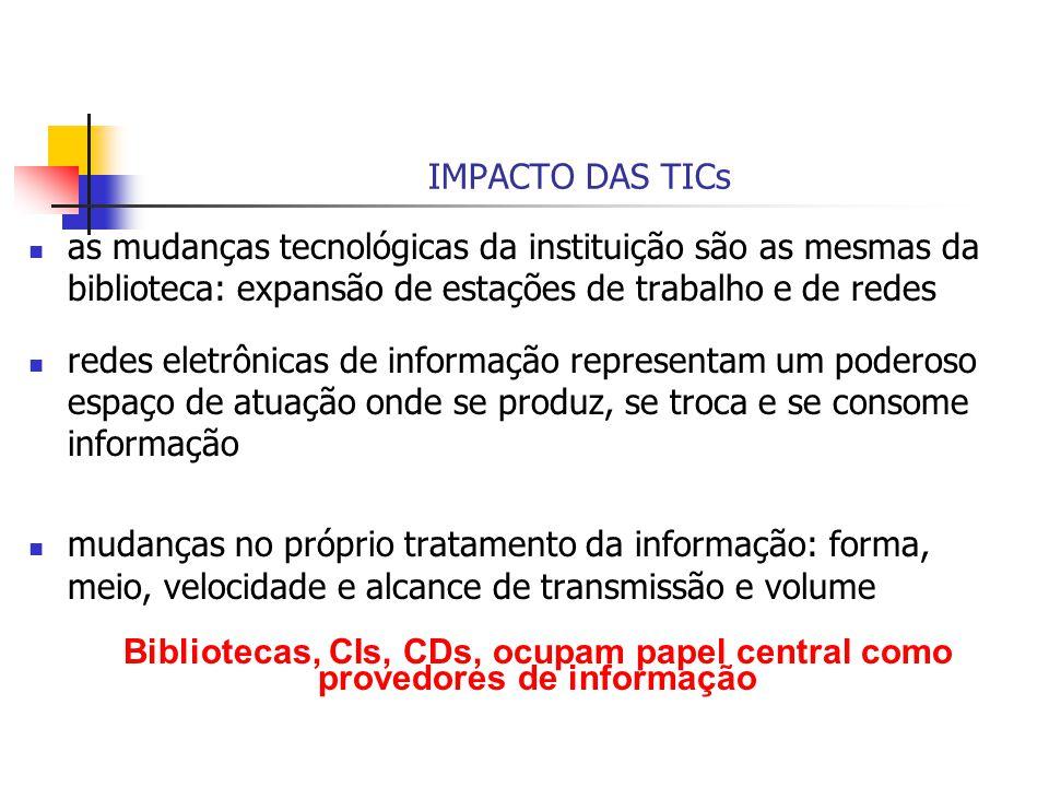 IMPACTO DAS TICs as mudanças tecnológicas da instituição são as mesmas da biblioteca: expansão de estações de trabalho e de redes redes eletrônicas de