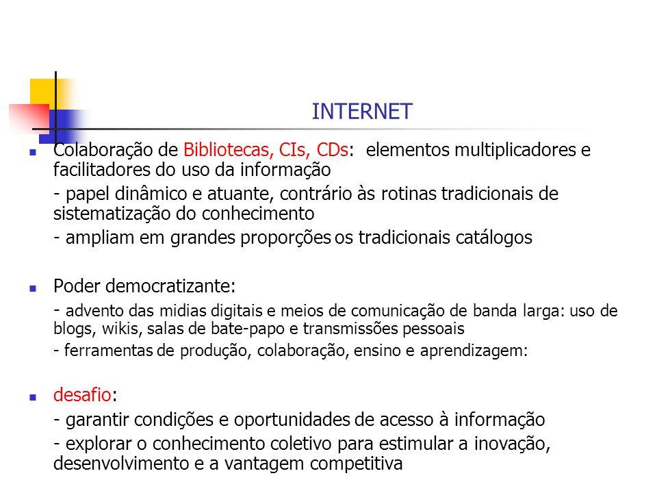 INTERNET Colaboração de Bibliotecas, CIs, CDs: elementos multiplicadores e facilitadores do uso da informação - papel dinâmico e atuante, contrário às