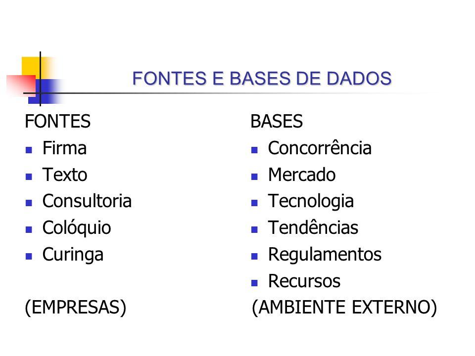 FONTES E BASES DE DADOS BASES Concorrência Mercado Tecnologia Tendências Regulamentos Recursos (AMBIENTE EXTERNO) FONTES Firma Texto Consultoria Colóq