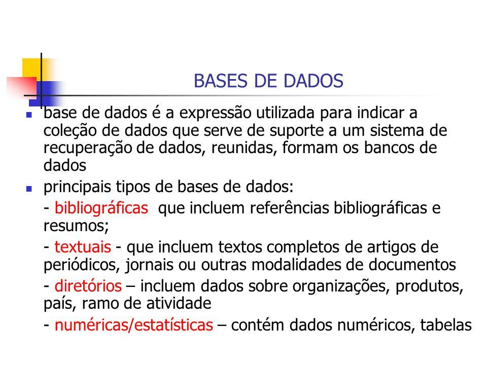 BASES DE DADOS base de dados é a expressão utilizada para indicar a coleção de dados que serve de suporte a um sistema de recuperação de dados, reunid