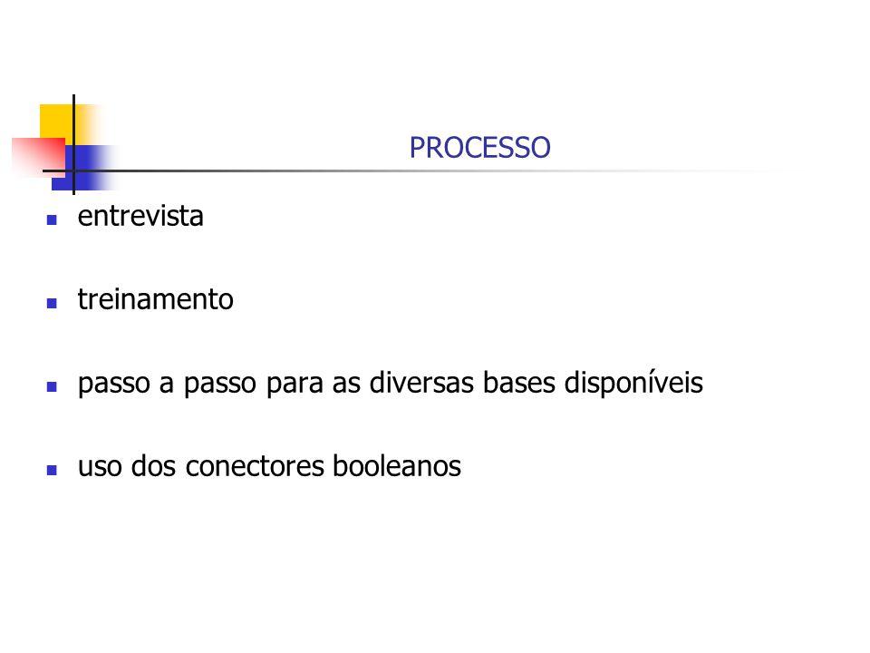 PROCESSO entrevista treinamento passo a passo para as diversas bases disponíveis uso dos conectores booleanos
