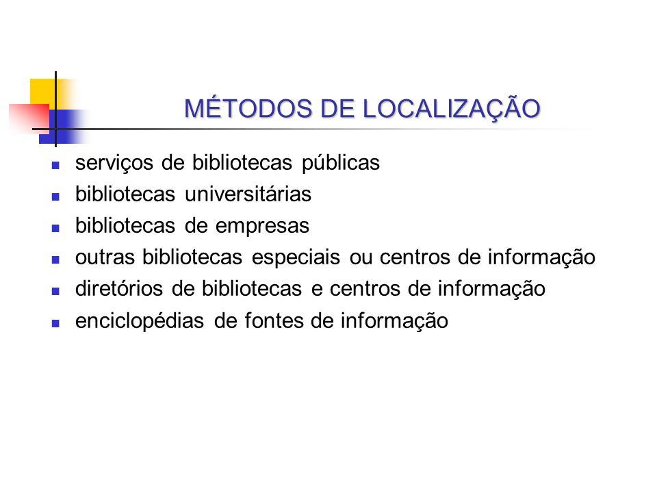 MÉTODOS DE LOCALIZAÇÃO serviços de bibliotecas públicas bibliotecas universitárias bibliotecas de empresas outras bibliotecas especiais ou centros de