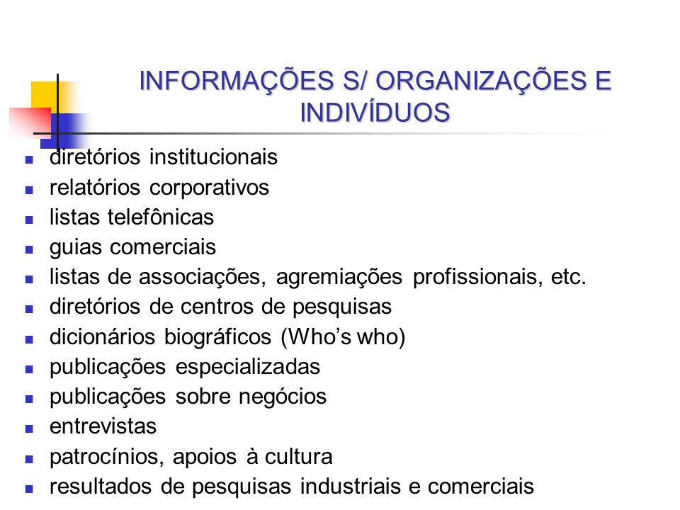 INFORMAÇÕES S/ ORGANIZAÇÕES E INDIVÍDUOS diretórios institucionais relatórios corporativos listas telefônicas guias comerciais listas de associações,